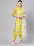 Women Green Embroidered Kurta with Trousers & Dupatta