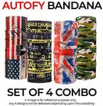 Autofy Unisex Bandana Combo Multipurpose Freesize Lycra Headwrap Riding Hair Band Motorcycle Face Mask For Men And Women (Set of 4)