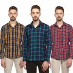LEVIZO Men's Checkered 100% Cotton Casual Classic fit Full Sleeves
