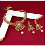 JewelMaze Alloy Necklace & Charm Set Jewel Set  (Gold, Pack of: 2)