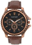 Get 95% OFF on Cartney Copper Analog Black Dial Brown Leather Strap Watch