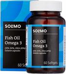 Amazon Brand - Solimo Omega-3 Fish Oil 1000mg with 30% EPA and 20% DHA  - 60 Softgels