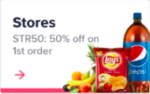 Swiggy store 50% off on first order (Buy Chips, cold drink) select cities