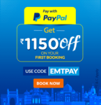 Save Rs.1150 on booking through PayPal on EaseMyTrip