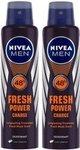 Nivea Men Fresh Power Charge Deodorant Spray  -  For Men Pack of 2 300 ml.