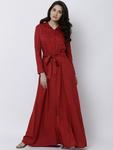 Tokyo Talkies Women Red Solid Maxi Dress