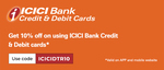 Get 10% discount upto 5000 on New Year and Christmas Prepaid Deals via ICICI Bank CC & DC