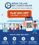 Flat 50% off upto 60₹ on 1st 2 Hyderabad Metro ticket through Goibibo App