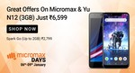 Micromax Days 6th - 9th Jan. Lowest Prices on Micromax & YU mobiles