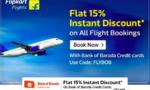 15% discount on flights using BOB credit cards