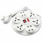 MoreBlue 8+1 Round Strip Extension Cord 6 Amp 8 Universal Multi Plug Point (4 Three pin and 4 Two pin sockets) Extension Board 2 Yard with LED Indicator, Switch and Fuse @ 59