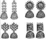 JewelMaze Black Oxidised Set 4 Jhumki Earrings Combo Silver Alloy