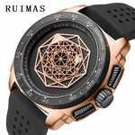 RUIMAS Men Watch Fashion Sports Quartz Hublo Watches Top Brand Big Dial Creative Silicone Waterproof Clock Relogio Masculino