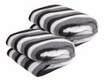 SELLPOINT Single Bed AC Fleece Stripe Blanket (60x90 Inches; Black And White) - Pack Of 2