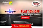 Flipkart Travel Fest : Flat 10% off on First Flight Booking (No. Min Booking)