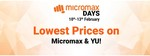 Micromax Days- Lowest Price On Micromax And Yu