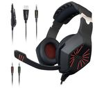 Maono AU-A1 Gaming Headphones with Headset, Mic Control and LED Light (Red and Black)