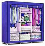 Epakky 6+2 Shelves A3 Imported PP (Polypropylene) Collapsible Wardrobe  (Finish Color - Cyan)