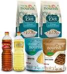 Nourish Combo 1 Kg Arhar Dal + 1 Kg Desi Chana + 1Kg Rice (Pack of 2 ) + 1 Ltr Nourish Sunflower Oil + 1 Ltr Bail Kolhu Mustard Oil