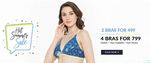 Clovia Hot Summer Sale : 2 Bras for Rs.499, 4 Bras for Rs.799 + 10% off on all orders of Rs.1299 & Above