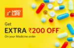 Redeem 100 insider Points & Get Extra 200 off over and above the Base discount of 15% on prescribed Medicines Purchase for the minimum purchase of 1000 on Medlife