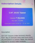BYJU'S CAT 2020 Tablet Subscription at Rs.35000 (Original price 38000)