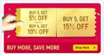 Shop More to Save More - Buy 3 Get 5%, Buy 4 Get  10% , Buy 5 Get 15% OFF