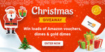 Christmas Giveaway - Win Amazon giftcards, Dimes & Gold Dimes