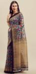 Florence Grey & Gold-Toned Art Silk Printed Saree