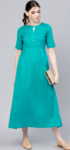 GERUA Women Turquoise Blue Solid Midi Empire Dress
