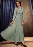 Grey Embroidered Slit Style Indo Western Dress