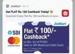 Flat 100 Cashback on transaction above 1500 via sbi master card