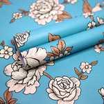 Wollzo White Rose with Blue Self Adhesive Wallpaper Sticker ( 45 x 500 cm Multicolor)