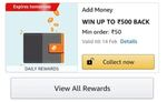 Win upto 500 back on add money of Rs.50 in Send money offer