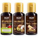 WOW Skin Science Apple Cider Vinegar Shampoo + Hair Conditioner + Shea & Cocoa Butter Body Lotion - Net Vol - 90 ml