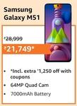 Rs.1250 Coupon - Samsung Galaxy M51 (Electric Blue, 6GB RAM, 128GB Storage)