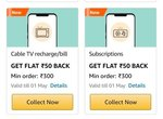 Flat 50 Cashback On min 300 Cable TV Recharge / Bill & Subscriptions