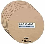 Variety Canvas 6 Piece 4 x 4 Inch Round MDF Boards for Art and Craft, Wood Round MDF Sheets for Craft Work, DIY MDF Cutouts