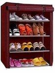 Ebee 4 Shelves Shoe Cabinet (Maroon) upto 67%off