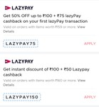 Zomato : Get 50% Discount Upto 100 + 75 Cashback Using First Lazy pay Payment