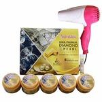 NutriGlow Gold, Platinum, Diamond & Pearl Facial Kit | Hair Dryer - Pink
