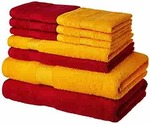Amazon Brand - Solimo 100% Cotton 10 Piece Towel Set, 500 GSM (Spanish Red and Sunshine Yellow)
