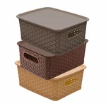 Kuber Industries Plastic 3 Pieces Small Size Multipurpose Solitaire Storage Basket with Lid (Multi)(Size:25x19x10.5cm)-CTLTC010898