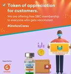 Grofers - Free One Month SBC Membership To Members Receiving Covid-19 Vaccination
