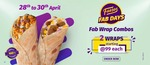 Faasos Fab Days Sale | 28th - 30th April | 2 Wraps starting at  ₹99 each.