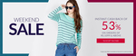 Weekend Sale Get instant cashback of 53% off on minimum purchase Rs.1099