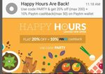 PepperTap 20% off coupon for All Users + 10% cashback (PayTM)