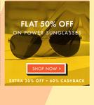 Flat 50% OFF on Power Sun Glasess + Extra 30% OFF + 60% Cash Back @Lenskart