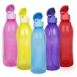 Cello Fresca Flip Polypropylene Bottle Set, 1 Litre, 5-Pieces, Multicolour Rs. 333 at Amazon