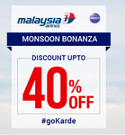 Goibibo: Malaysia Airlines Sale  - Get up to 40% Off on Int'l Flights   Valid till 20th June 2016